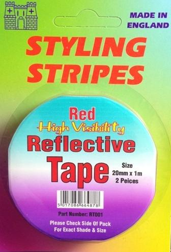 Castle Reflective Tape Stripe. 20mm x 1 Metre 2 Pieces. Available In Red Or Silver