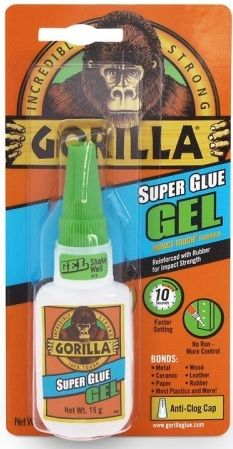 Gorilla Super Glue Gel Anti Clog Cap. 15g. 1296B