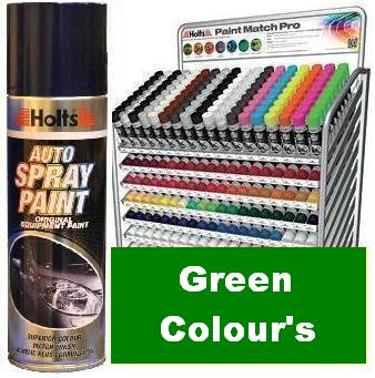 Holts Paint Match Pro. 300ml Aerosol. Green Colours