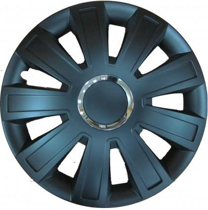 "Inferno Black Wheel Trims, Modern Design Covers Available For 13"", 14"" & 15"" Wheels, Set Of 4"