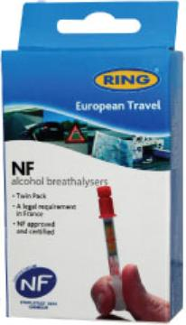 Ring Alcohol Breathalyser Kit For France NF Approved Twin Pack. RCTBR3