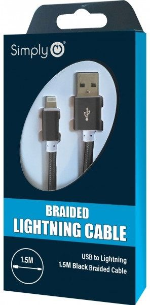 Simply Black iPhone Lighting Braided Cable 1.5m ICIP04 | Multi Sockets in Carlisle Cumbria