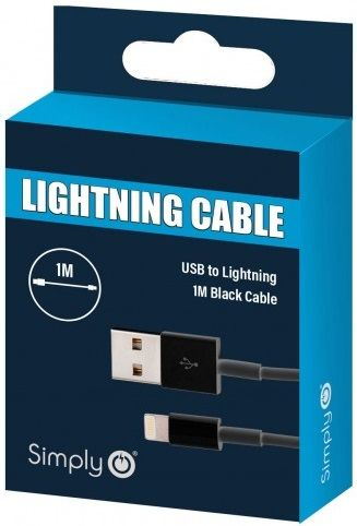 Simply Black iPhone Lighting Cable 1m ICIP01 | Multi Sockets in Carlisle Cumbria