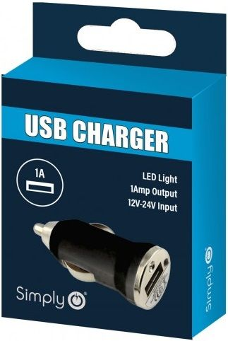 Simply Black Single USB Car Charger. ICSC01